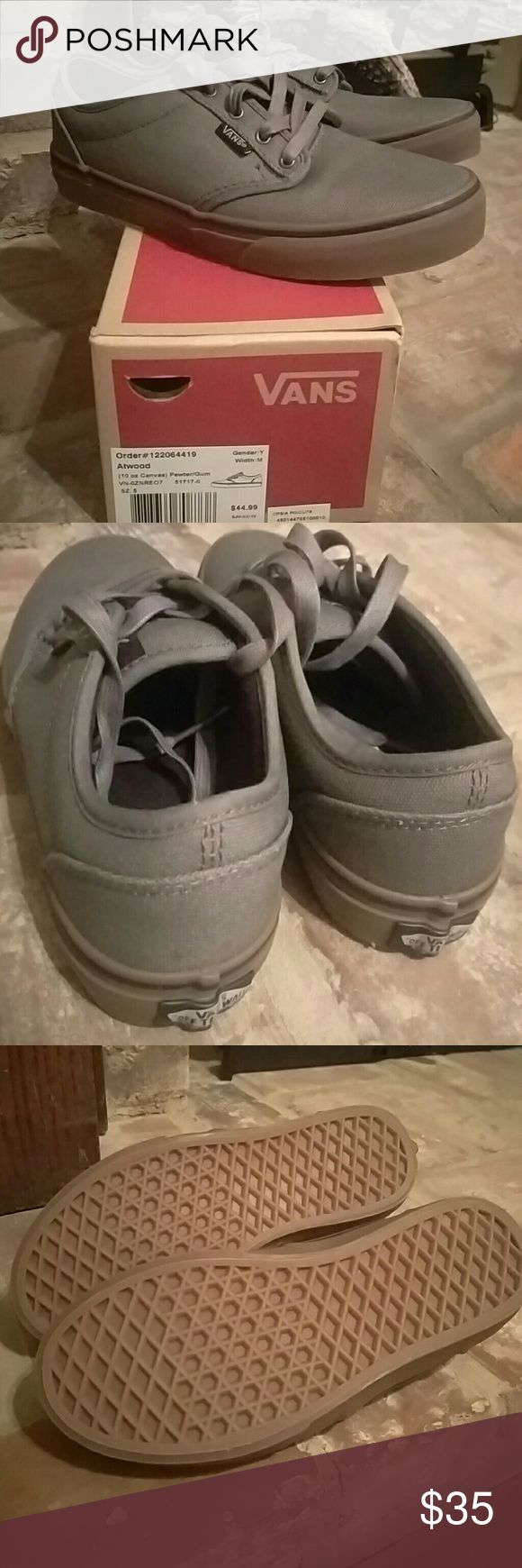 Boys VANS Atwood VANS Canvas Atwood in Pewter/Gum. Brand new, never worn. Still have box. Vans Shoes Sneakers