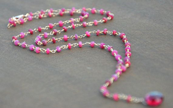 Hand made ruby rosario necklace, ruby necklace, ruby rosario necklace, pink necklace, radice di rubino collana, beaded necklace, root of buby necklace