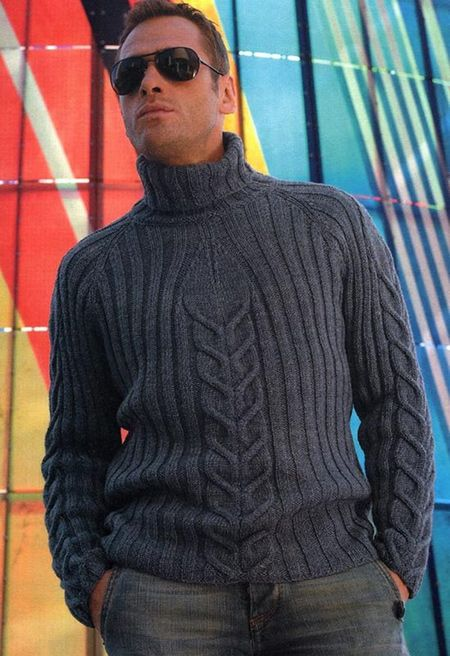 Мода 2014-2015 — мужской свитер с вывязанными косами