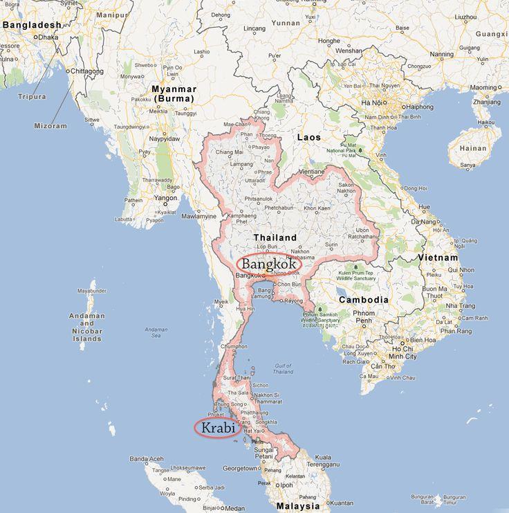 Map of Thailand Showing Bangkok and Krabi