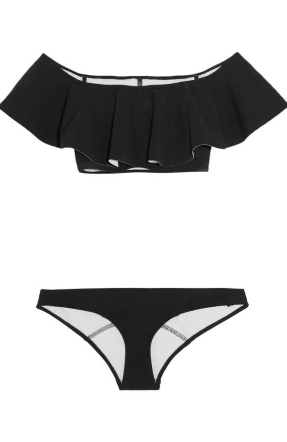 Maillot de bain bandeau deux pièces noir à volants sur les épaules Lisa Marie Fernandez