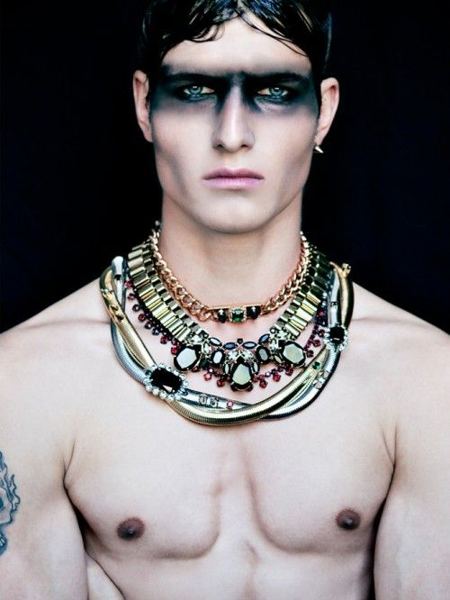 Markus Lambert captured Next model, John Todd in Mawi jewellery with makeup by Guiliette Jimaa.