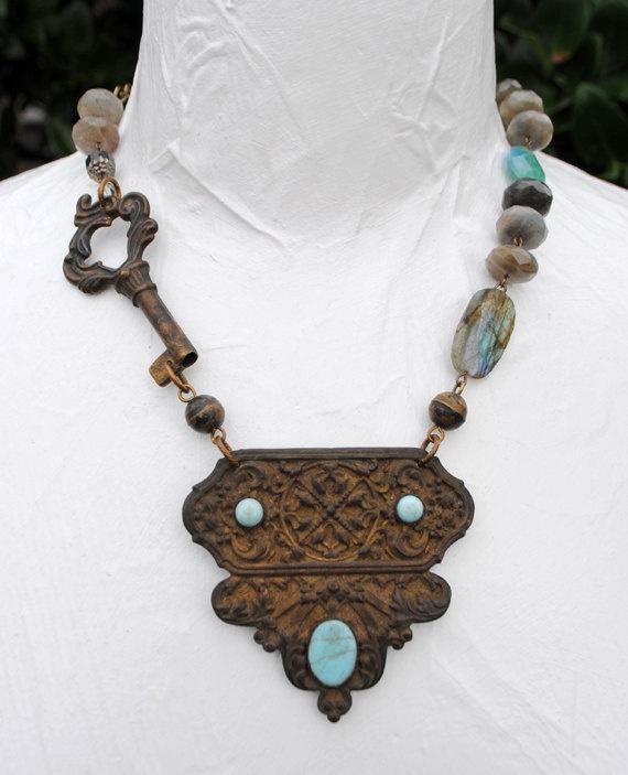 Victorian Brass Turquoise Salvage Buckle Pendant Antique Key Labradorite Apatite Necklace.