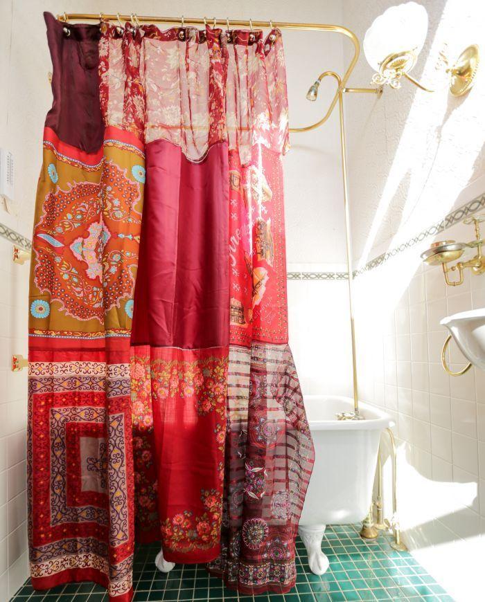 Red Boho Shower Curtain Reimagine Studio 2019 Curtains Diy