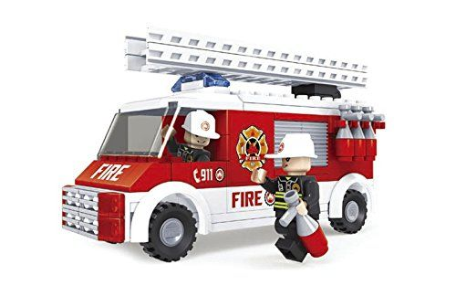 Fire Rescue Brigade Ausini Fire Truck with A Swivel and Extendable Ladder 150pc Set Educational Building Blocks Set Compatible To Lego Parts - Best Gift For Boys and Girls ** Find out more about the great product at the image link.