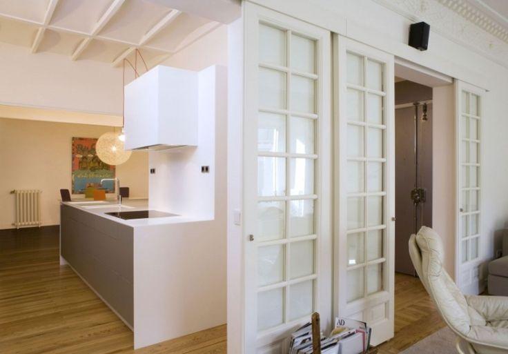 schiebet r zwischen k che und wohnzimmer aus holz oder glas wohnbereich in 2019 schiebe t r. Black Bedroom Furniture Sets. Home Design Ideas