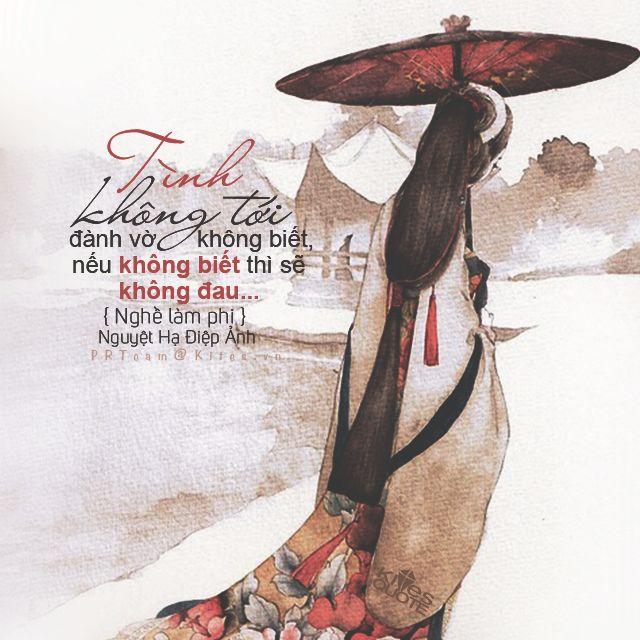 """kitesquotes: """"  """"Tình không tới đành vờ không biết, nếu không biết thì sẽ không đau…"""" {Nghề Làm Phi - Nguyệt Hạ Điệp Ảnh} des by tieuchinhthai@ Kites Quotes """""""