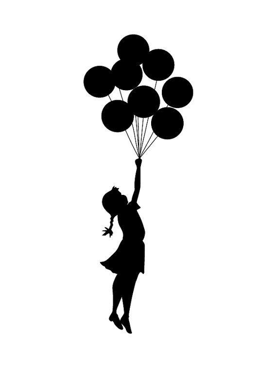 OVERVIEW ----------------------------------------------------- Banksy wall decal sticker of a girl flying with balloons. This wall sticker features a silhouette of a young girl holding onto a bunch of balloons, floating through the air. Perfect for any wall or smooth flat surface. Bring this amazing artwork from the iconic Banksy right into your rooms.  Available in 2 different sizes and multiple colour options. Can be reversed in direction giving you greater choice for your needs. If you…