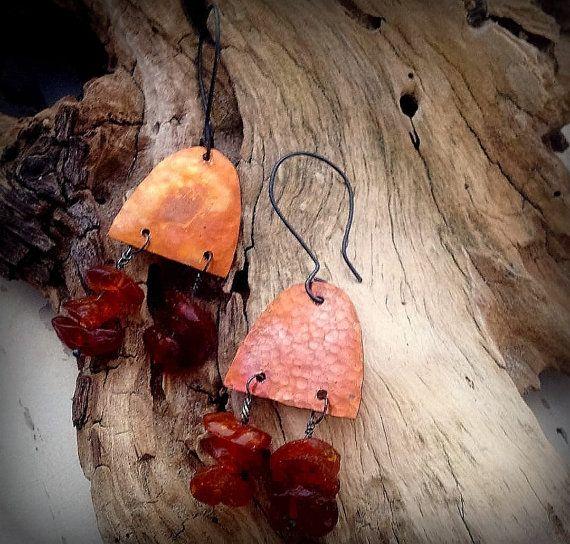 Tribal earrings Rustic earrings Ethnic by AncientSunDesigns