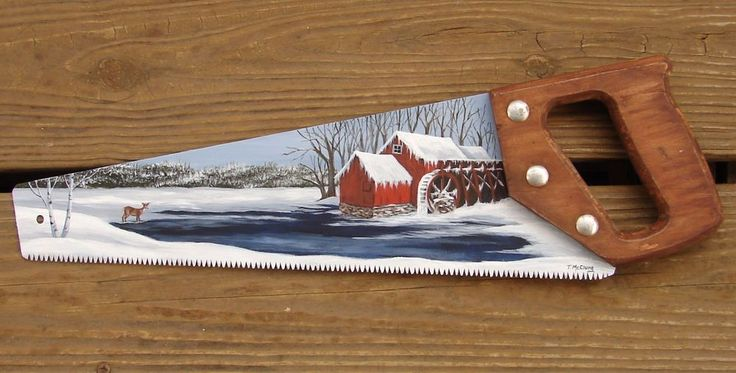 Painted Hand Saw Old Mill Pond Deer Snow Cabin Lodge Decor Original Painting in Crafts, Handcrafted & Finished Pieces, Handpainted Items | eBay