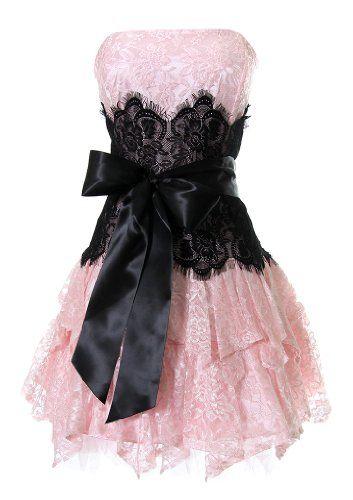 Lisas Fine Lingerie: Graduation Dresses: Strapless Bustier Contrast Lace and Crinoline Ruffle Prom Mini Dress Junior Plus Size