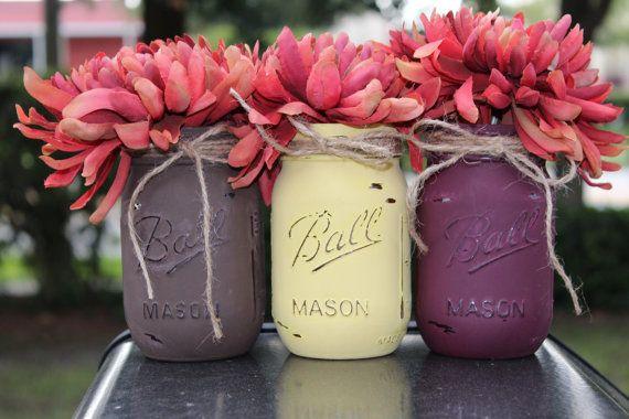 Otoño otoño decoración otoño mason jars centros por DebDebsCrafts
