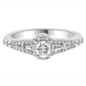 0.50ct Unusual Halo Diamond Ring V020 with a round brilliant cut diamond set in 18k white gold