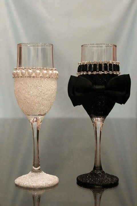 bride and groom wine glasses More