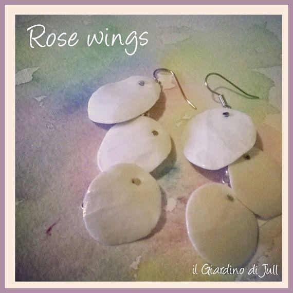 porcelain pendant earrings  Rose wings by IlGiardinodiJull on Etsy