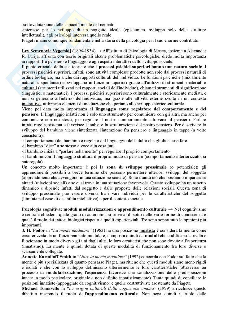 Riassunto esame Psicologia dello Sviluppo, prof. Vianello, libro consigliato Psicologia dello Sviluppo - Pagina 2