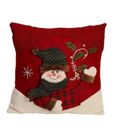 Red & Green Snowman Throw Pillow #zulily #zulilyfinds