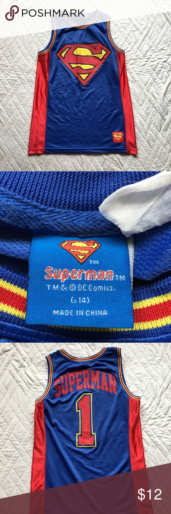 Boys superman tank Boys basketball jersey style superman tank . Good condition Shirts & Tops Tank Tops