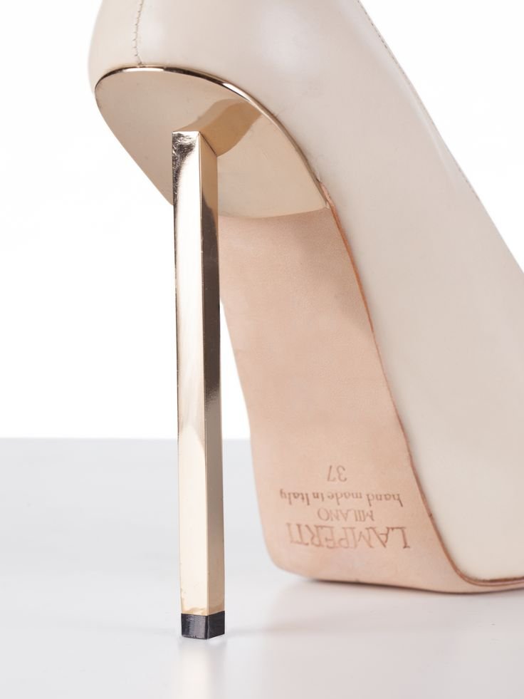 Rod heel, pump, leather, steel, white, champagne gold, handmade in Italy, Lamperti Milano