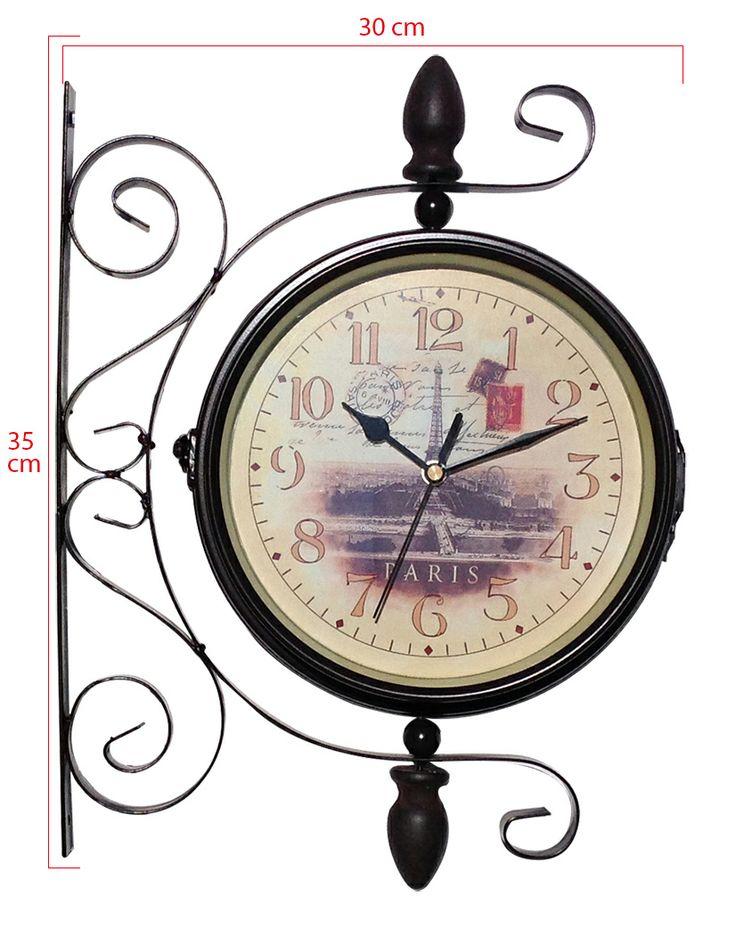 Çift Taraflı İstasyon Duvar Saati Modeli Yeni  Ürün Bilgisi ;  Ürün maddesi : Metal Sessiz çalışır Renk : Kahverangi Kalem pil ile çalışmakta Paris modası ile tasarlı, iç tasarımı Çok şık ürün 360 derece her yöne dönebilme Ürün fotoğrafta görüldüğü gibidir Kolay montaj Sevdiklerinize hediye edebilir Ürün Ölçüleri ;  Boydan boya uzunluk : 35 cm Genişlik : 30 cm