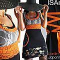 Une robe Cocktail ... à l'imprimé japonisant : L'été haut en couleurs par un lumineux Orange Acidulé !