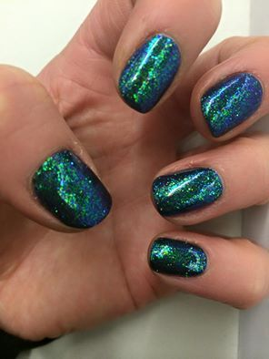 Alison Ally Mitchell uses CND Shellac Indigo Frock layered with #lecente Rubarb #glitter #nails #nailart #mermaids