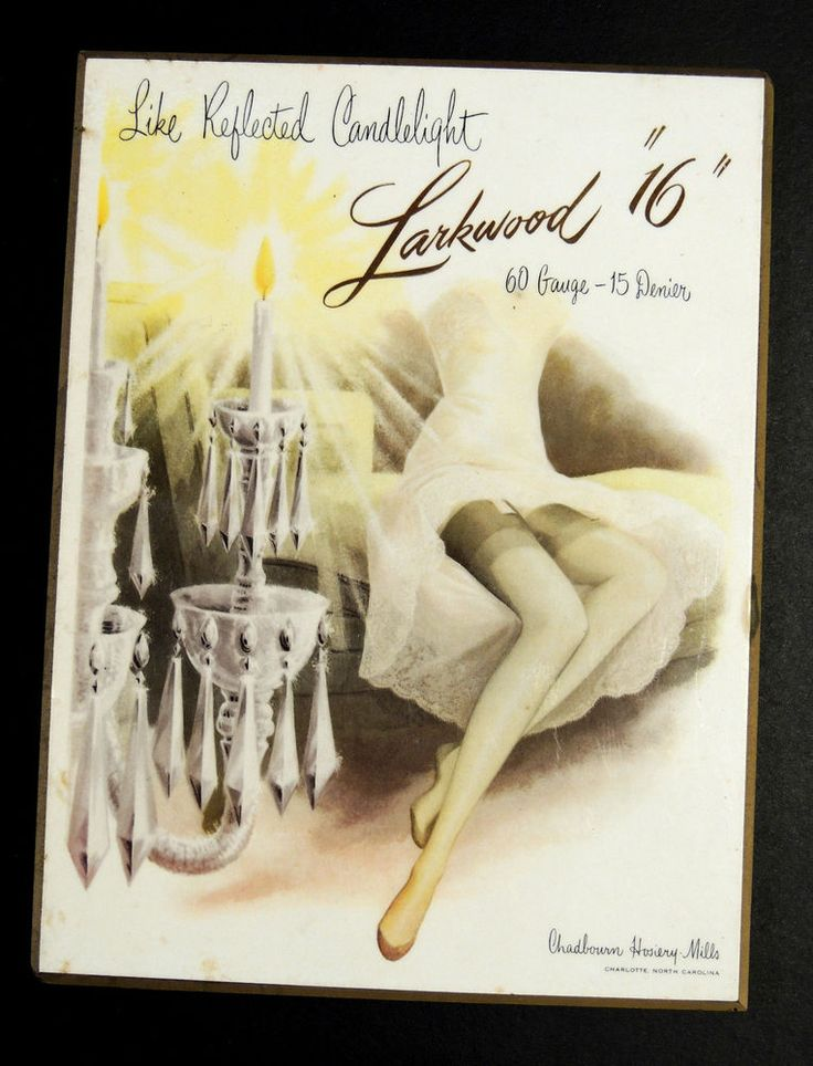 Antique Vtg Art Deco LARKWOOD Hosiery Lingerie Store Display SIGN Stockings  NC