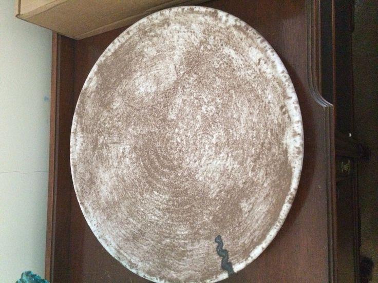McCarty pottery Platter nutmeg with river mark. Mississippi