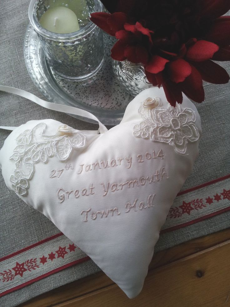 Hand embroidered silk heart with lace detail handmade by Beautiful Unique