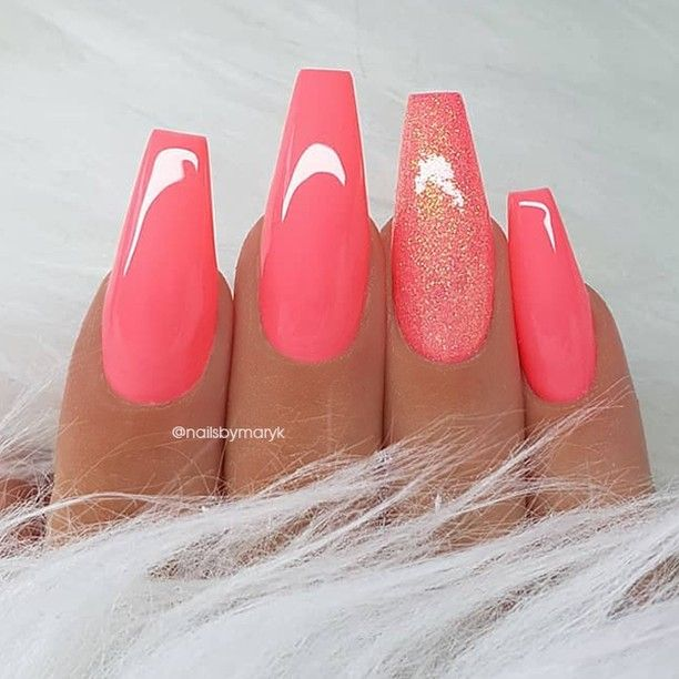 Repost Coral Pink And Glitter On Long Coffin Nails Picture And Nail Design By Nailsbymaryk Trendy Nails Coffin Nails Long Pretty Acrylic Nails