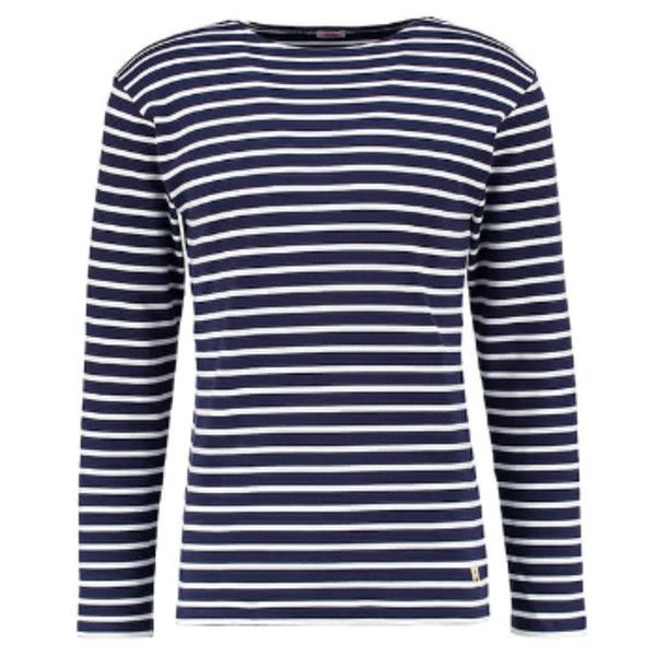 Navy & Off White Classic Long Sleeve T-Shirt ($68) ❤ liked on Polyvore featuring men's fashion, men's clothing, men's shirts, men's t-shirts, men's collared shirts, mens navy blue shirt, mens long sleeve shirts, old navy mens t shirts and mens navy blue t shirt