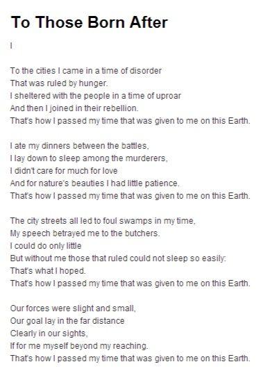 Discuss Bertolt Brecht's poem