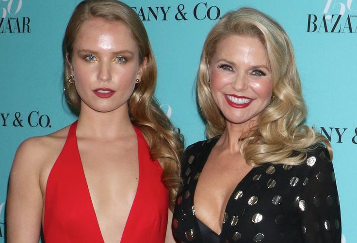 Christie Brinkley's Daughter Sailor Cook Sizzled in These Suede Lace-Up Sandals  sailor brinkley cook christie harpers bazaar tiffany party Sailor Brinkley Cook (left) wears red sandals by Paula Cademartori, and poses with her mother, Christie Brinkley, at the Harper's Bazaar and Tiffany & Co.