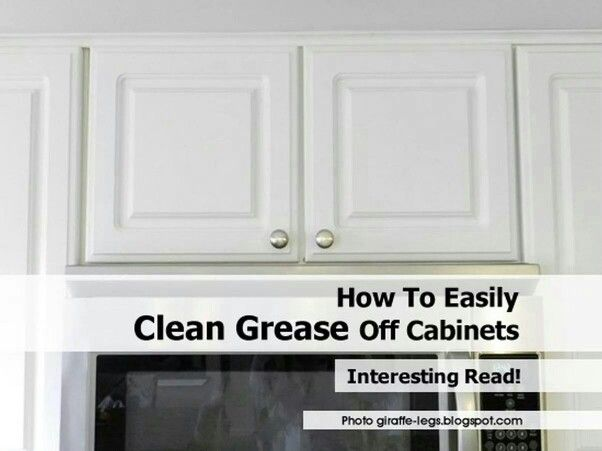 How to get grease off cabinets kitchen tips pinterest for Best cleaning solution for greasy kitchen cabinets