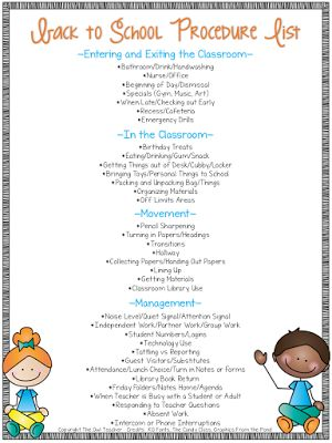Back to School Procedures It's hard to believe that it's almost back to school time. As we start to prepare for that first week we need to think about what's most important such as rules expectations and consequences. Routines and procedures are one of the most important things that we teach when we head back to school. Over at my blog I help you get started with procedures for when you head back to school and I provide you with a free procedures list to download too! They say the more…