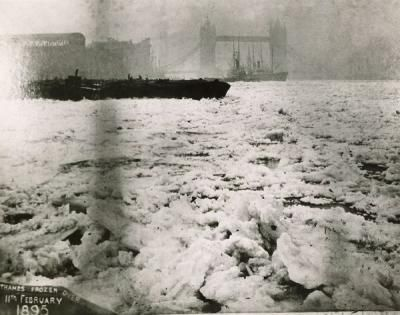 The Thames frozen at Rotherhithe with Tower Bridge in the distance, in 1895