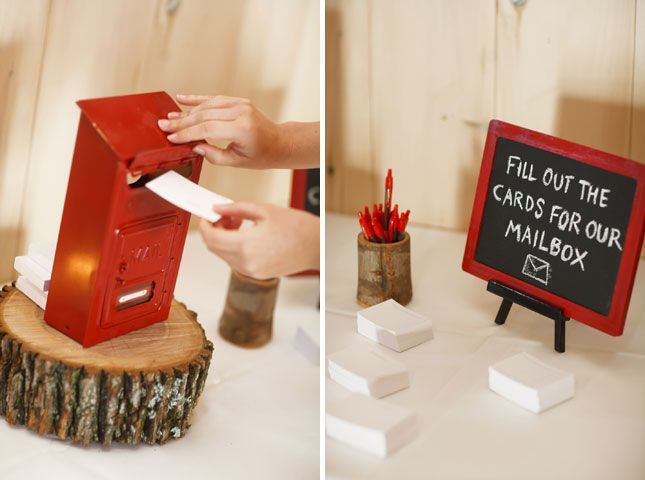 6. Mailbox Guestbook: For a little bit of old school whimsy, source an old mailbox and leave guests blank paper and envelopes to write private notes to the two of you. Open one each day during your first year of marriage.