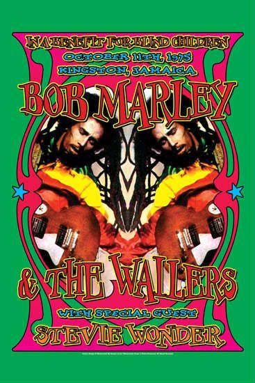 Bob Marley & Stevie Wonder Concert Poster 1975 in Raggae Music Posters