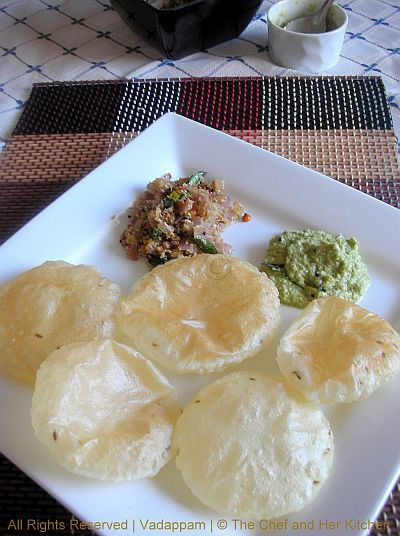 THE CHEF and HER KITCHEN: Vadappam(Rice Flour Poori) with Chintaku-Onion Palya.....FFF #6