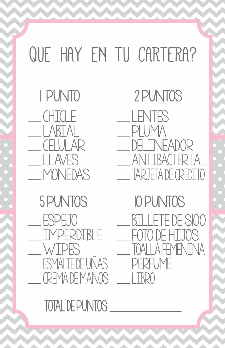 5 Juegos para Baby Shower para Imprimir en PDF Gratis - 5 Baby Shower Games Printable PDF for Free - Que hay en tu cartera - What is in your purse