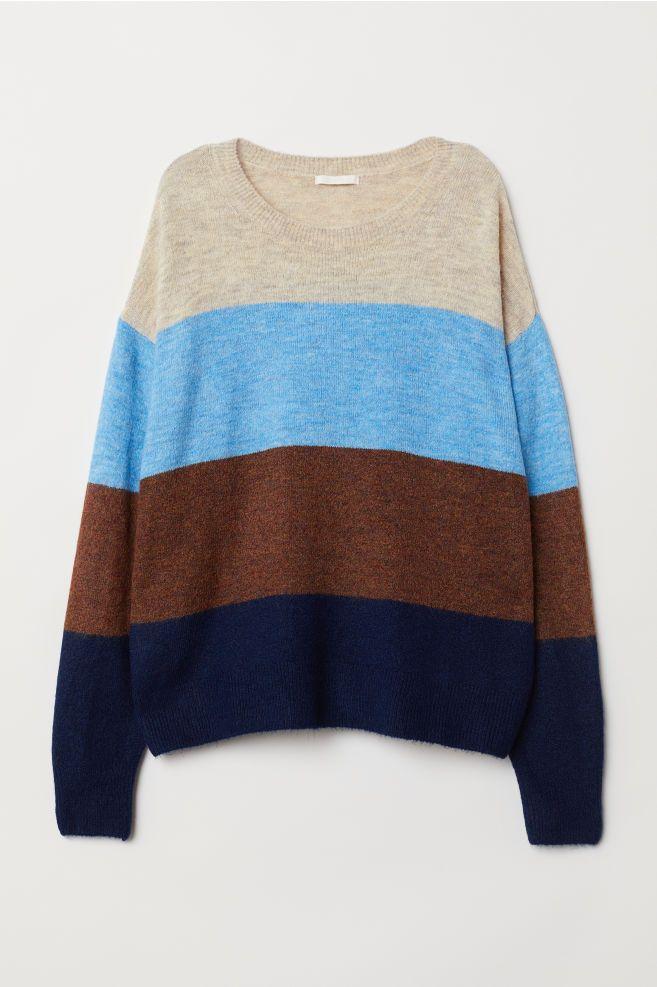 Knitted jumper Light blueBlock striped Ladies | H&M IE