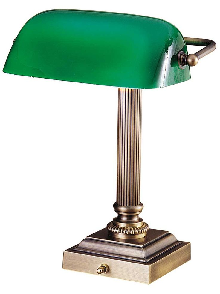 """Emeralite 13 1/4"""" Bankers Desk Lamp with Green Glass Shade 