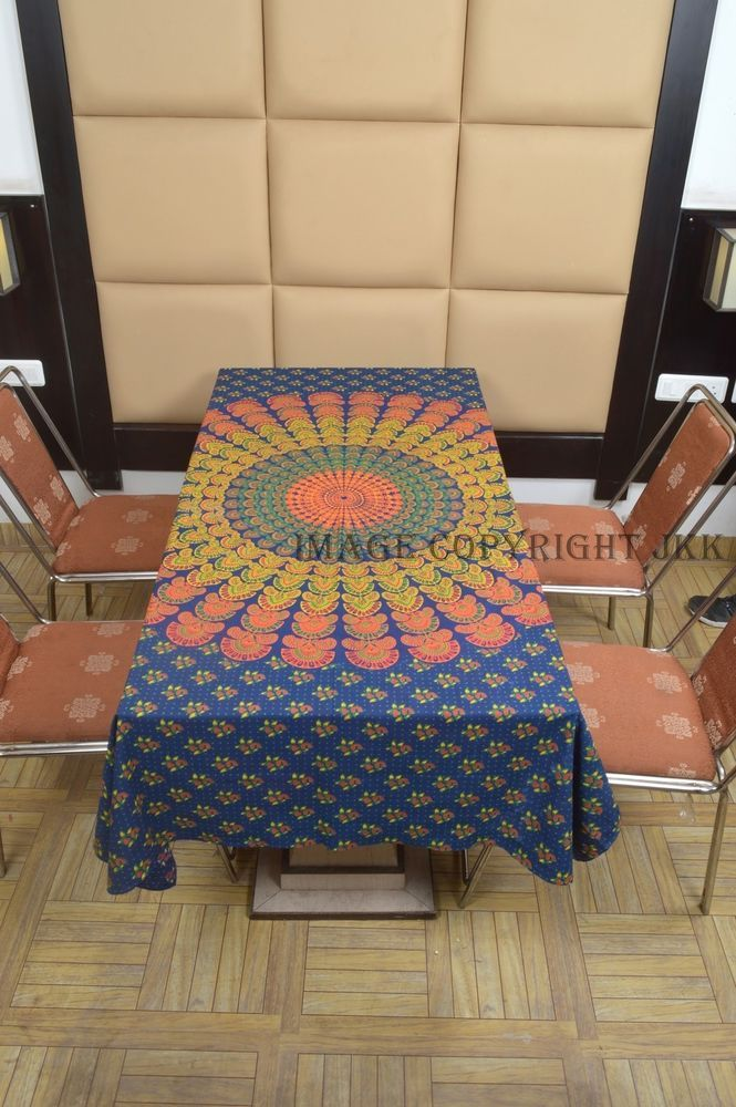 Indian Teal Blue Multicolored Mandala Printed Cotton Dinning Table Cover IWUS
