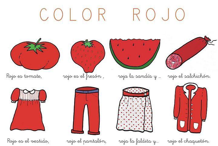 ✿ Poesías para trabajar el color ROJO en el aula.       COLOR ROJO    Rojo es el tomate,  rojo es elfresón,   roja la sandia y...  rojo ...