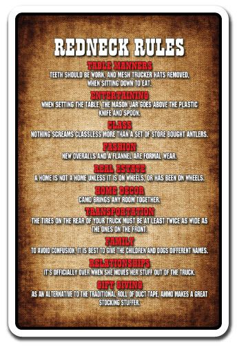 Details About Redneck Rules Novelty Sign Gift Country