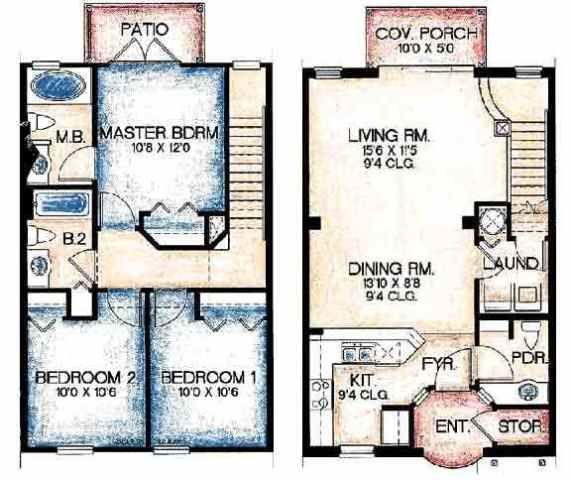 Townhouse floor plans apartment complex ideas for Apartment townhouse plans