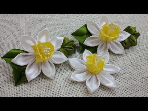 ▶ D.I.Y. Satin Kanzashi Daffodils Tutorial - YouTube