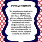 This product is a two page (can be printed double sided) parent questionnaire that can be used to elicit student info.  It contains five sections o...