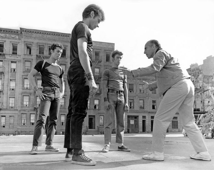 Jerome Robbins directs Jay Norman, George Chakiris and Eddie Verso in West Side Story, 1961