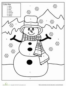 Snowman Color by Number | Worksheet | Education.com